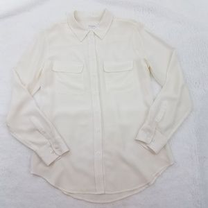 Equipment Silk Top Shirt Long Sleeves Button Front